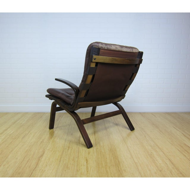 Danish Modern Scandinavian Brown Leather Lounge Chair For Sale - Image 3 of 7