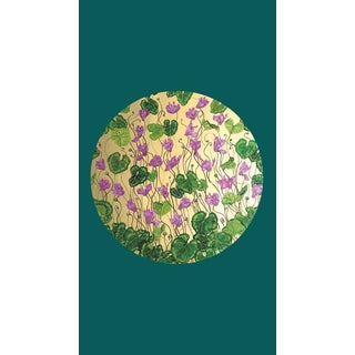 Tondi Fiori Collection Cyclamen Gold Circular Shaped Wallcovering On Forest Greenery For Sale