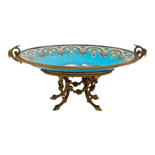 Early 20th Century French Gilt Bronze Gilt Neoclassical Cenrerpiece Glass Bowl For Sale