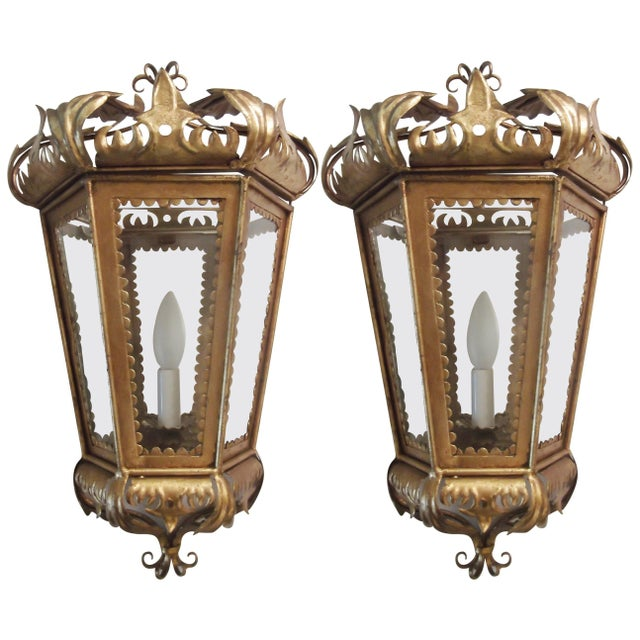 Italian Hollywood Regency Gilt Toleware Sconces - a Pair For Sale - Image 11 of 11