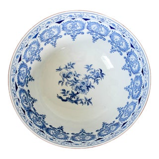 Large Blue & White Serving Bowl Andrea by Sadek For Sale