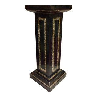 1980s Vintage Black Roman Tessellated Stone Pedestal For Sale