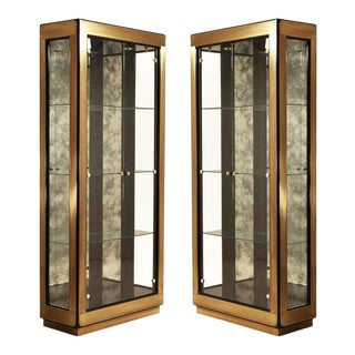 Two Modern Black Lacquered Brass Curio Display Cabinets by Mastercraft - A Pair For Sale