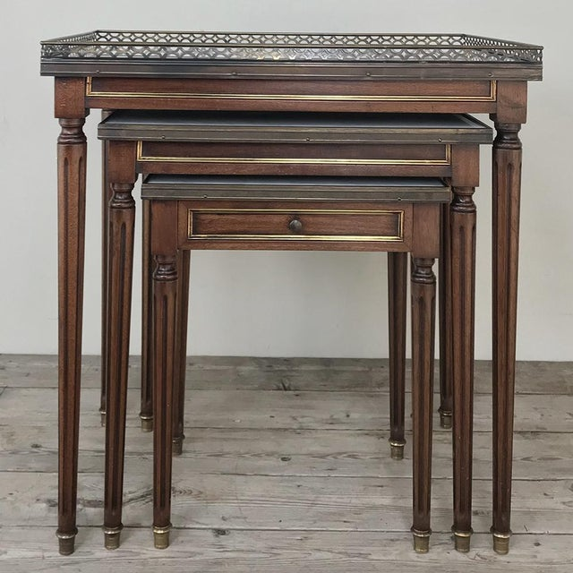 Set of Antique Directoire Marble Top Nesting Tables For Sale - Image 13 of 13