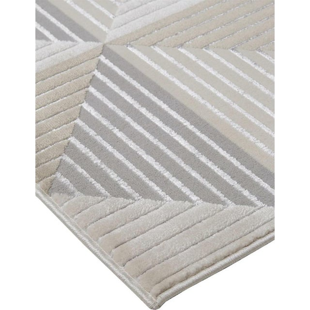Transitional Micah Architectural Inspired Rug, Silver/Bone, 2ft - 10in x 7ft - 10in, Runner For Sale - Image 3 of 7