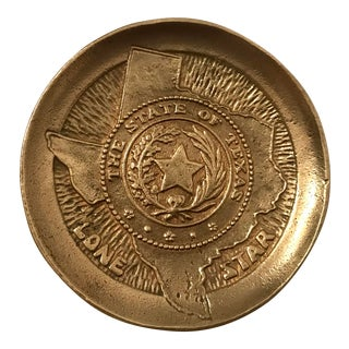 Vintage Brass State Seal of Texas Trinket Dish For Sale