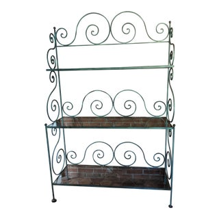 1950's Vintage Wrought Iron Bakers Rack For Sale