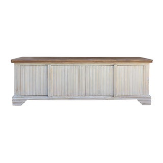 Chinese Raw Wood Low TV Console Cabinet