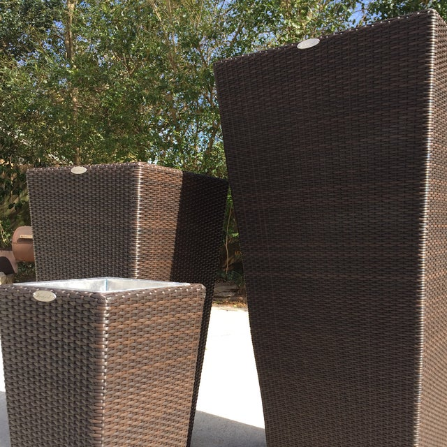 Rattan Espresso Finish Rattan Planters - Set of 3 For Sale - Image 7 of 8