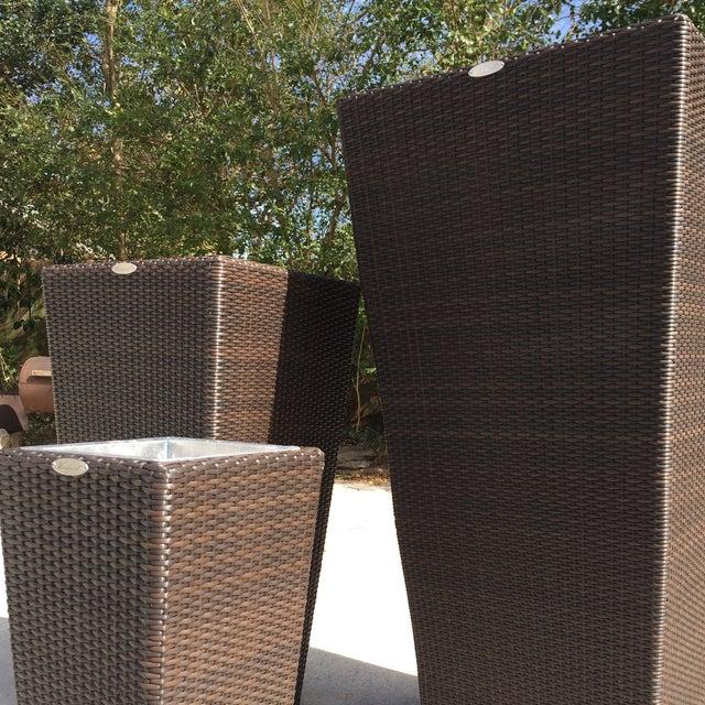 Espresso Finish Rattan Planters - Set of 3 - Image 7 of 8