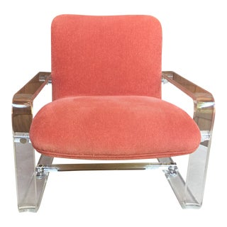1960s Vintage Orange Lucite Armchair For Sale