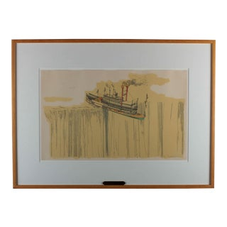 "1960's Lithograph ""Riverboat"" (1967) by William Richard Crutchfield"