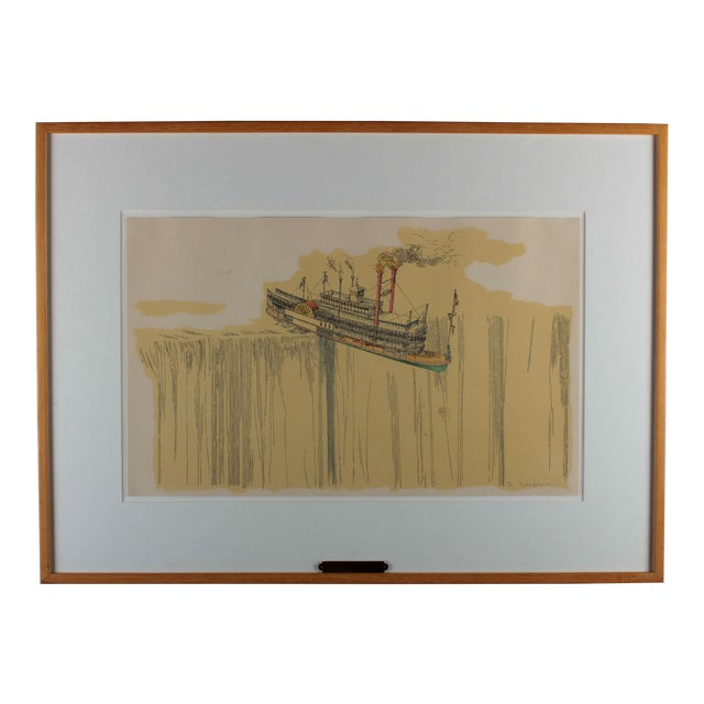 "1960's Lithograph ""Riverboat"" (1967) by William Richard Crutchfield For Sale"