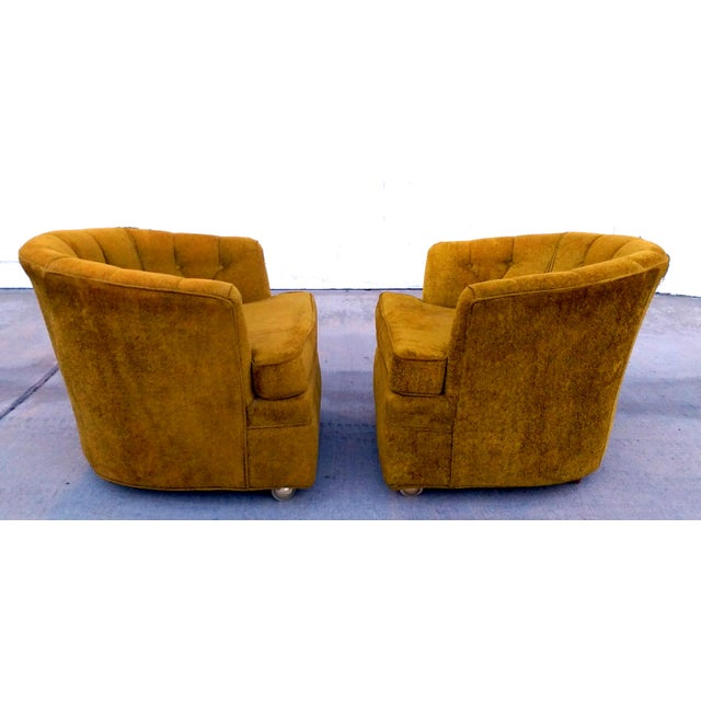 Barker Bros. Chartreuse Boucle Tub Chairs - A Pair   Chairish
