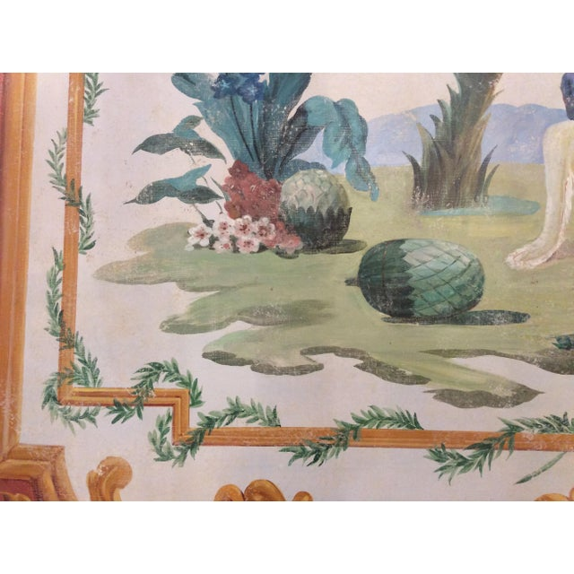 1950s Vintage Huge Hand-Painted Fresco Painting For Sale - Image 4 of 7