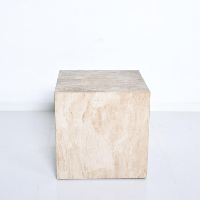 We are pleased to offer for your consideration, a wonderful modern travertine cube side table. Great colors and stone...