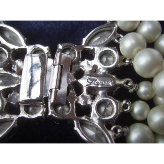 Metal Schiaparelli Faux Pearl Bib Necklace and Earring Set. 1960's. For Sale - Image 7 of 8