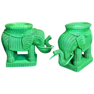 Chinese Export Polychromed Wicker Elephant Garden Seats - a Pair
