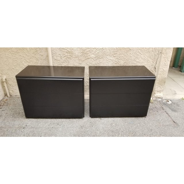 Lacquer Contemporary Milo Baughman Thayer Coggin Black Lacquer Side Tables - a Pair For Sale - Image 7 of 7