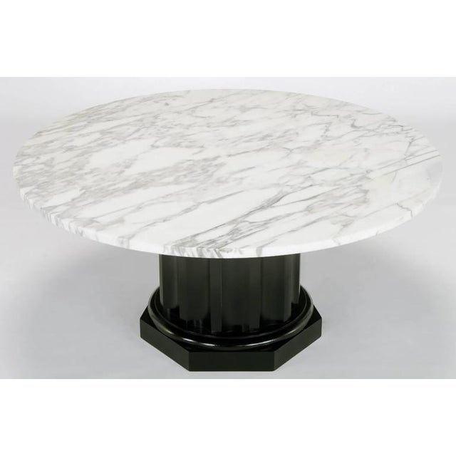 White Carrara Marble Coffee Table with Ebonized Fluted Wood Base - Image 2 of 7