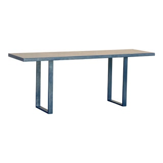 Custom Made Metallic Midnight Blue Console Table For Sale