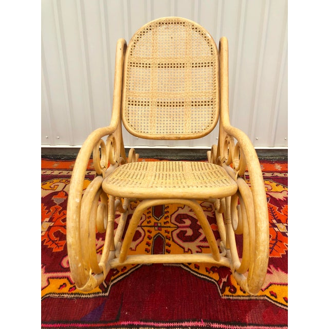 Vintage Mid Century Bamboo Rattan Spiral Rocking Chair For Sale - Image 4 of 7