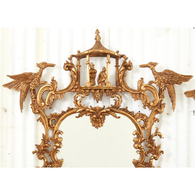 Early 20th Century Pair of Chinese Chippendale Style Pagoda Mirrors With Ho Ho Birds For Sale - Image 5 of 13
