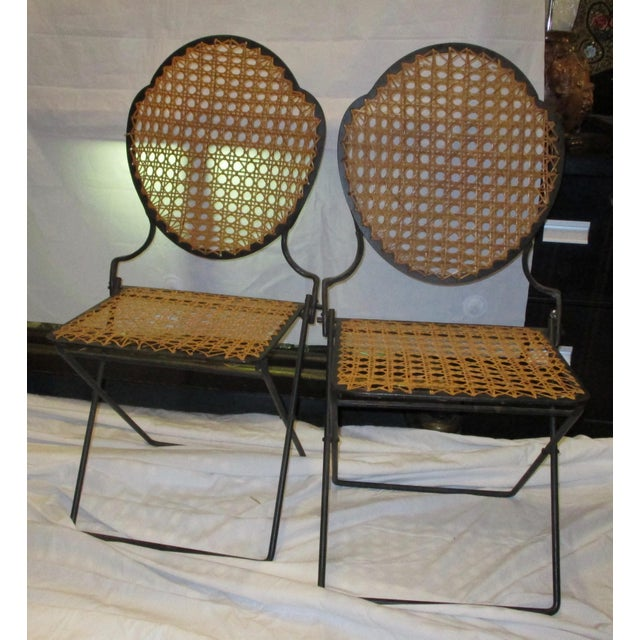 French Iron Beach Chairs With Cane Seats - A Pair - Image 2 of 11