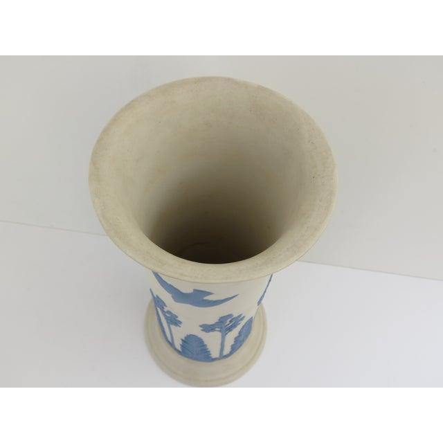 Ecanada White & Blue Art Pottery Vase For Sale - Image 5 of 7