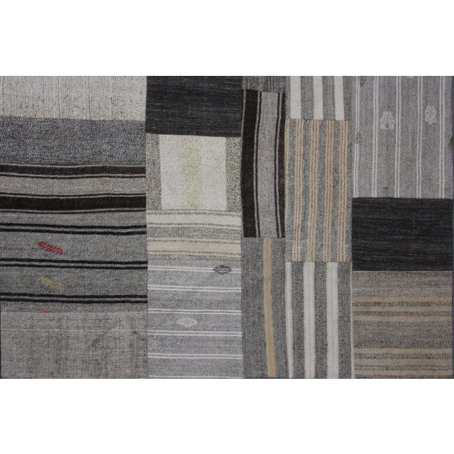 "Hand Knotted Patchwork Kilim by Aara Rugs Inc. - 12'1"" X 8'10"" - Image 4 of 4"