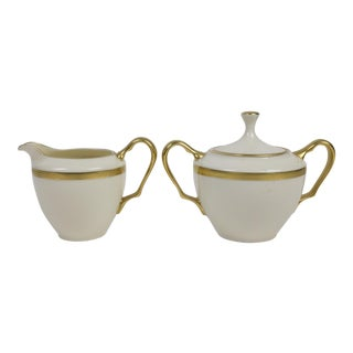 Lenox China Tuxedo Pattern Creamer & Sugar - 2 Pc. For Sale