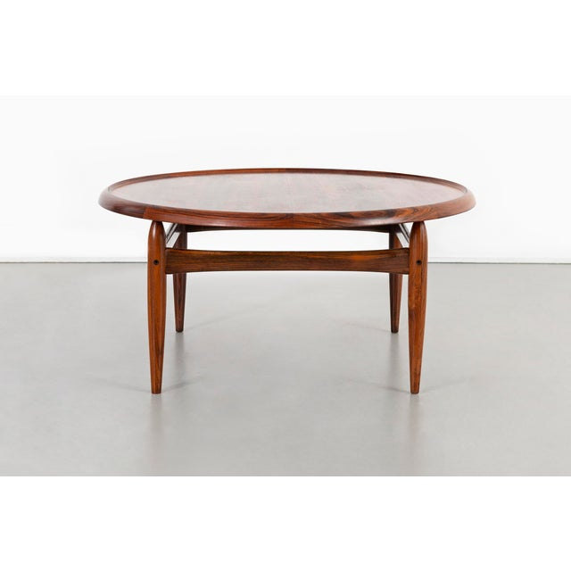 """coffee table designed by Kurt Ostervig for Jason Mobler Denmark, c 1960s rosewood 18 ½"""" h x 39 ¼"""" w x 39 ¼"""" d"""