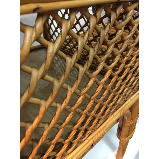 Wicker and Bamboo Chair & Table For Sale - Image 10 of 12
