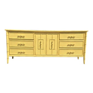 Hollywood Regency Faux Bamboo Yellow Dresser by Mount Airy For Sale