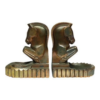 Machine Age Art Deco Bronze Plated Signed Horse Bookend or Ash Trays C. 1930 For Sale