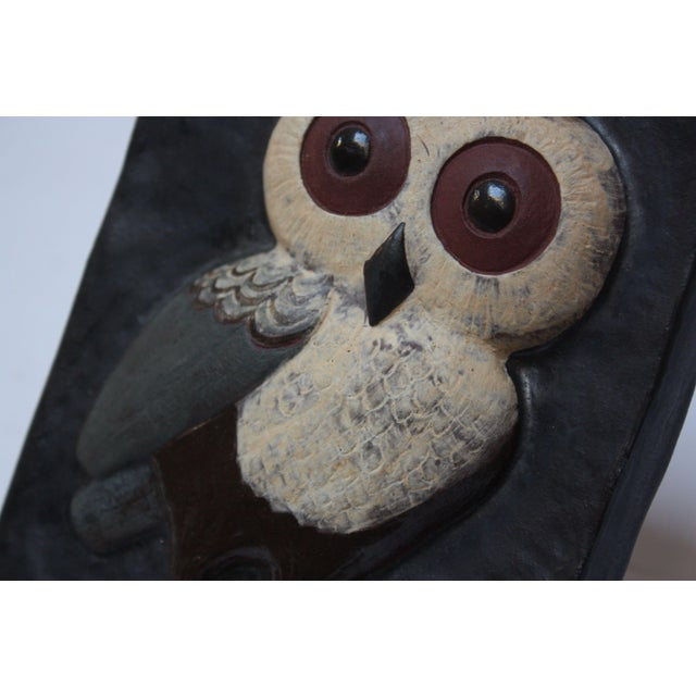 1960s Danish Modern Terracotta 'Owl' Tile by Thyssen Keramik For Sale - Image 5 of 8