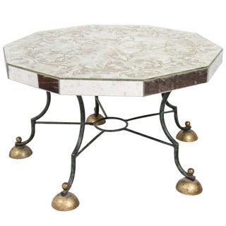 Art Deco Mirrored Coffee Table With Leaf Motif For Sale