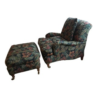 Grange Bergère Upholstered Floral Chair and Ottoman Set
