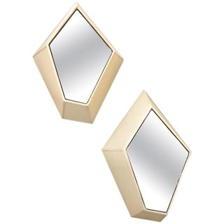 Polygonal Wall Sconces With Fabric and Mirror, Italy, 21st Century - a Pair For Sale