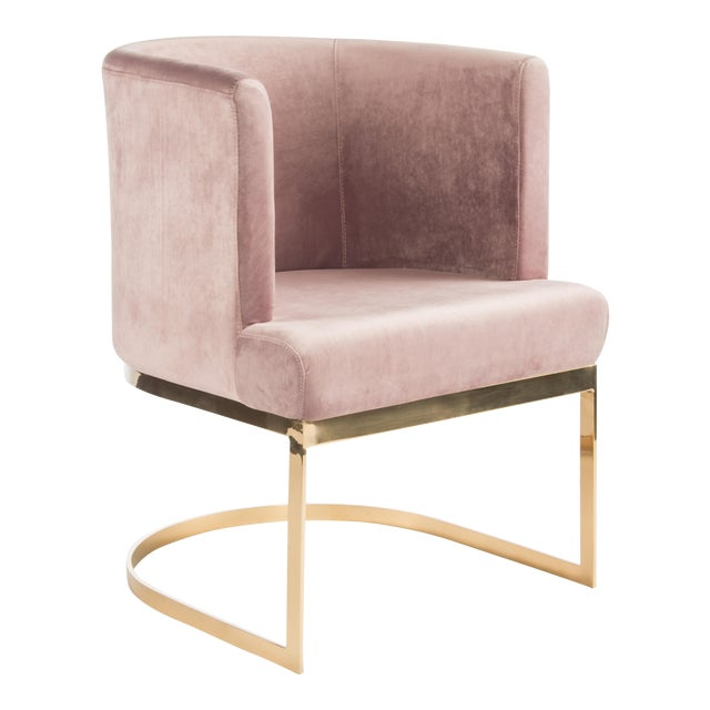 Modern Blush Velvet & Gold Circular Accent Chair Set of 6 - Image 1 of 3