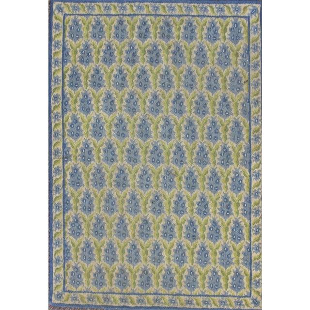 "Stark Green & Blue Pinecone Needlepoint Rug -- 2'2"" x 3'1"" - Image 1 of 3"