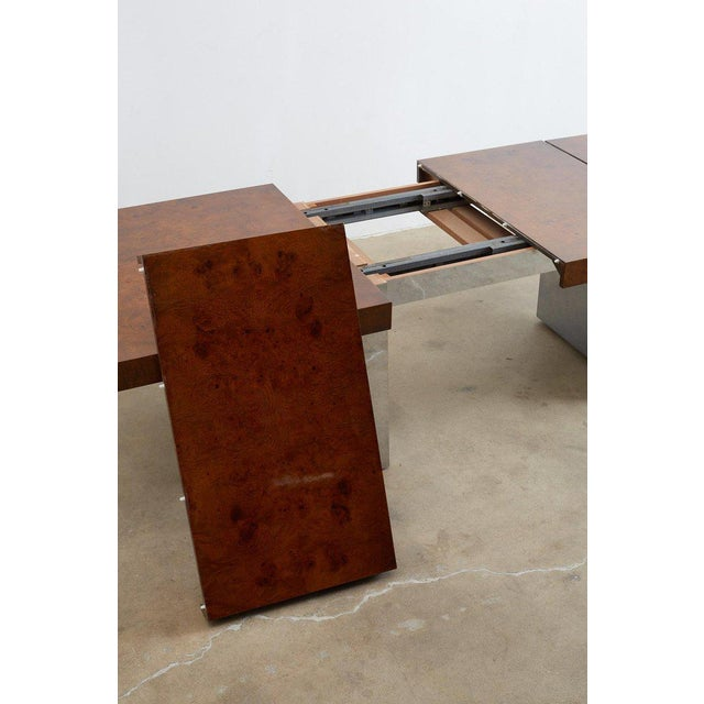 Milo Baughman Burl Wood Chrome Extension Dining Table For Sale In San Francisco - Image 6 of 13