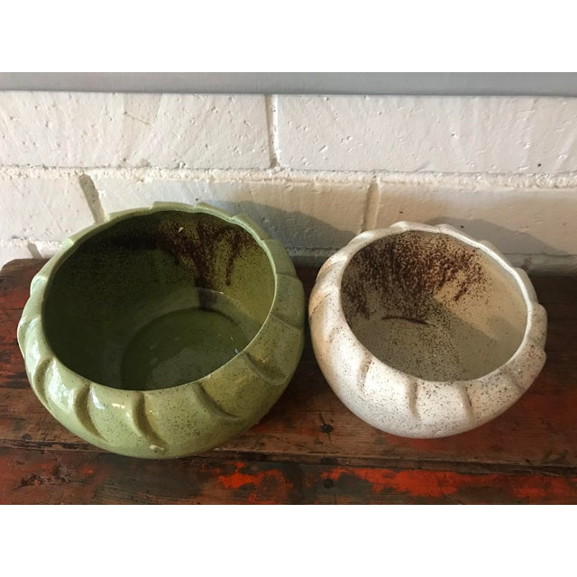 Vintage Speckled Green & White Pottery Planters - a Pair For Sale - Image 4 of 11