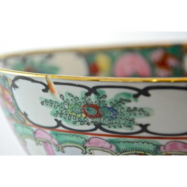 Black Pink Famille Rose Bowl & Stand For Sale - Image 8 of 9