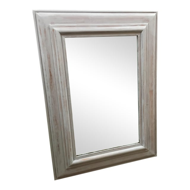 Rectangular Light Gray Wash Wooden Framed Mirror   Chairish
