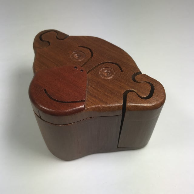 Brown Wooden Monkey Puzzle Box For Sale - Image 8 of 9