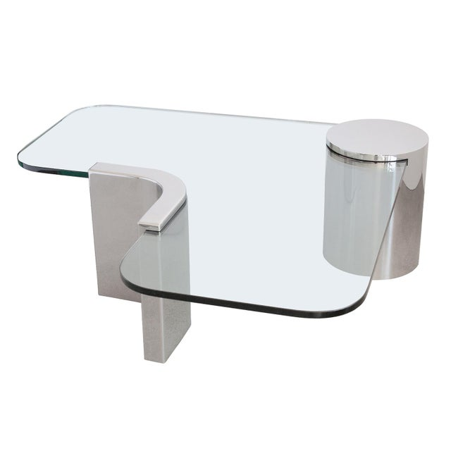 Polished Steel Cantilever Coffee Table - Image 4 of 11