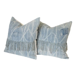 Faded Blue African Mudcloth Patchwork Pillow Shams - a Pair For Sale