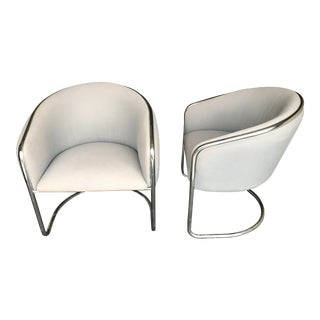 Cantilevered Chrome Armchairs by Thonet - a Pair For Sale