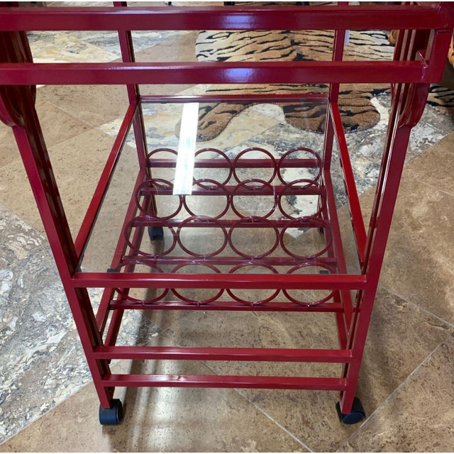 Red Late 20th Century Art Deco Bar Cart For Sale - Image 8 of 9